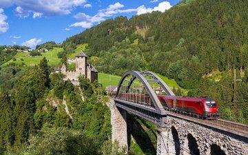 the sky, clouds, trees, mountains, nature, bridge, austria, train