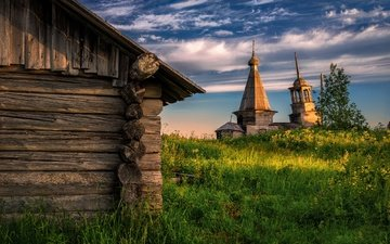the sky, grass, clouds, temple, village, arkhangelsk oblast, volozero, the onega district