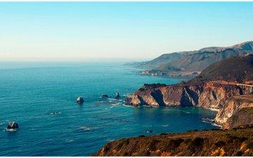 скалы, море, побережье, калифорния, бухта, утес, мост биксби, биг-сур