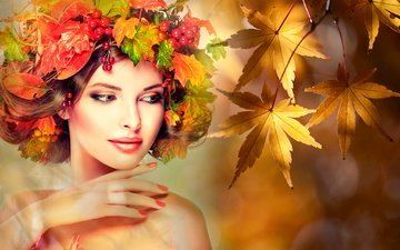leaves, girl, background, branches, autumn, glare, creative, berries, maple, makeup, hairstyle, wreath, brown hair, bokeh