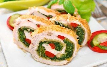 greens, vegetables, meat, filling, dish, rolls
