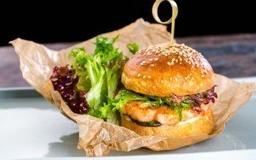 гамбургер, котлета, мясо, салат, булочка, бургер