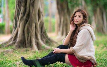 девушка, поза, взгляд, модель, ножки, лицо, азиатка, длинные волосы