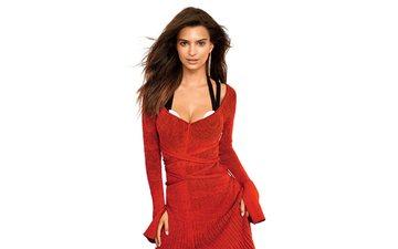 девушка, взгляд, модель, волосы, лицо, актриса, белый фон, красное платье, декольте, эмили ратайковски