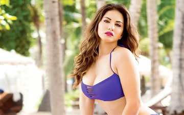 girl, look, model, hair, face, actress, makeup, swimsuit, sunny leone, indian