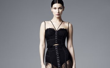 style, girl, dress, brunette, look, model, face, lace, bella hadid
