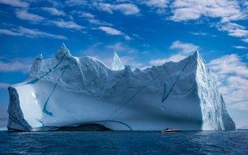 небо, облака, море, айсберг, катер, льды, гренландия, ледники