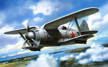 небо, арт, облака, самолет, лётчик, истребитель