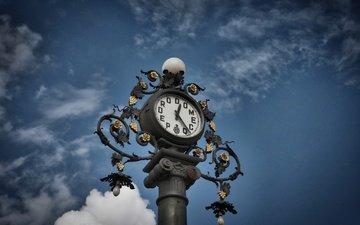 небо, облака, часы, испания, андалусия, pedro domecq clock, херес-де-ла-фронтера, jerez de la frontera