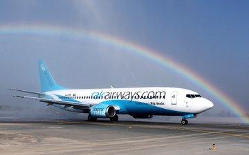 небо, самолет, авиация, радуга, крылья, боинг, 737