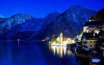 night, lights, mountains, winter, austria, hallstatt