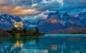 облака, озеро, горы, отражение, аргентина, патагония
