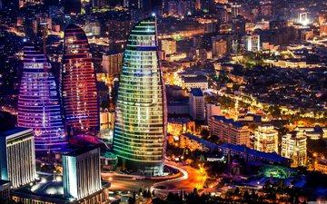 огни, панорама, город, небоскребы, мегаполис, столица, азербайджан, баку