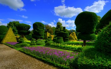 the sky, flowers, clouds, nature, design, park, the bushes, garden, england, lawn, topiary gardens levens hall