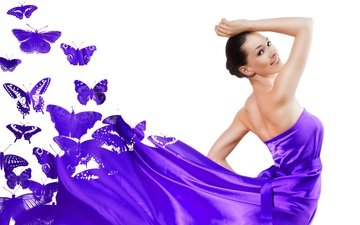 girl, dress, pose, smile, brunette, model, white background, butterfly, makeup, hairstyle, beauty, purple