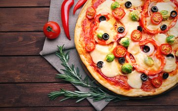 cheese, tomatoes, olives, pepper, sauce, pizza, filling