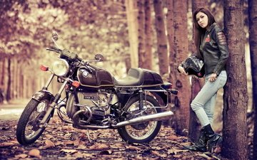 nature, girl, look, autumn, helmet, jeans, hair, face, motorcycle, alley, bike, leather jacket