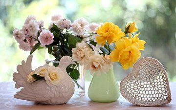 цветы, розы, сердце, букет, голубь, натюрморт, вазы