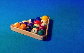balls, table, triangle, billiards, cloth