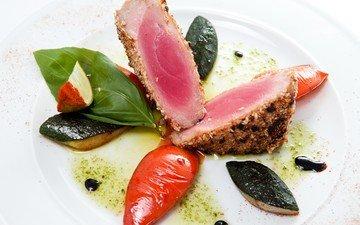 овощи, тарелка, рыба, стейк, тунец