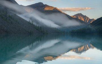 небо, облака, озеро, горы, отражение, утро, рассвет, алтай, сибирь, павел филатов