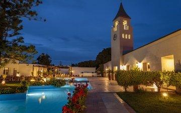 the evening, pool, greece, villa, rhodus, rhodes