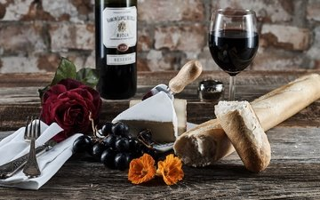 flowers, grapes, glass, cheese, bread, wine, bottle, baton