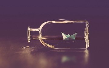 water, ship, creative, origami, bottle, boat, paper boat