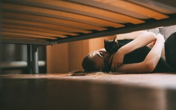 girl, mood, blonde, cat, look, bed, black cat, on the floor, olga liferova