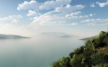 the sky, grass, mountains, nature, the air, haze, 3d