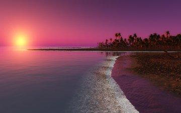 небо, берег, закат, море, пляж, горизонт, пальмы