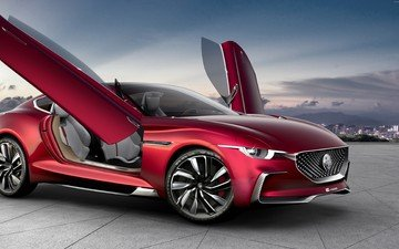 concept, sedan, mercedes, burgundy, electric, mg e-motion