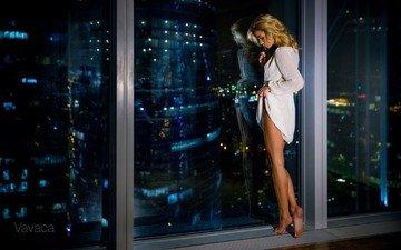 night, lights, girl, reflection, blonde, the city, model, legs, window, barefoot, vladimir nikolaev, ekaterina zueva