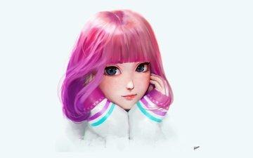 арт, девушка, портрет, взгляд, лицо, руки, розовые волосы, челка, большие глаза, fitaro