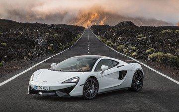 дорога, белый, суперкар, макларен, 570s