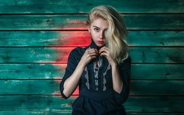 girl, blonde, portrait, look, wall, board, model, hair, face, makeup, hairstyle