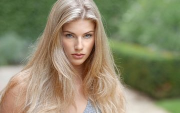girl, blonde, portrait, look, model, hair, lips, face, long hair