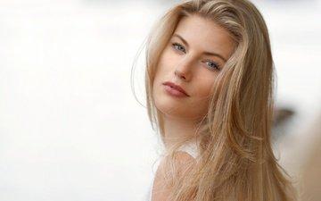 girl, blonde, portrait, look, model, hair, lips, face