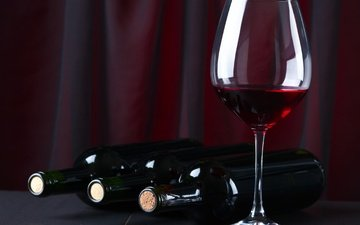 glass, wine, bottle, red