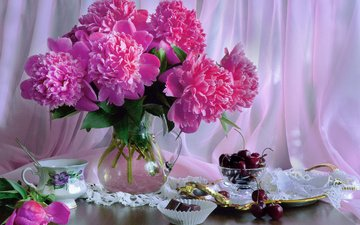 flowers, cherry, fabric, berries, cup, chocolate, napkin, pitcher, still life, veil, peonies, dish, valentina fencing