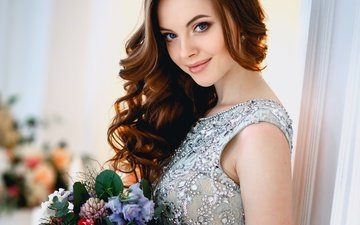 flowers, girl, background, dress, smile, portrait, look, bouquet, makeup, hairstyle, brown hair, bokeh