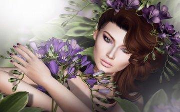 цветы, девушка, взгляд, волосы, лицо