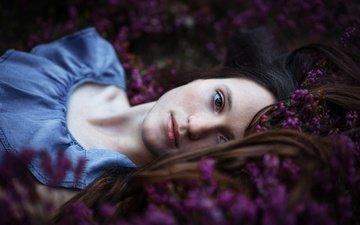 цветы, девушка, взгляд, модель, лицо, боке, anne