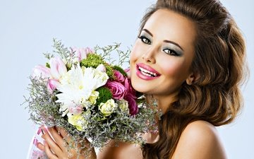 flowers, girl, background, smile, portrait, look, model, hair, bouquet, face, makeup, hairstyle, brown hair