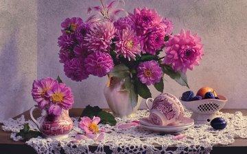 цветы, фрукты, лилия, чашка, ваза, салфетка, натюрморт, сливы, вазочка, георгины, валентина колова