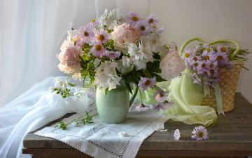 flowers, summer, napkin, basket, table, curtain, peonies, asters, lavatera, valentina fencing