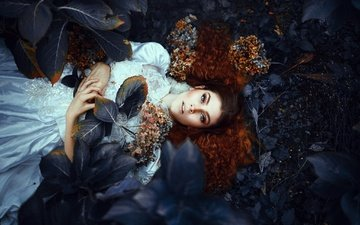 flowers, leaves, girl, mood, dress, look, stay, curls, brown-eyed, hydrangea, ronny garcia, my own grave