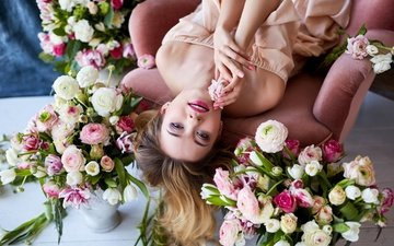 flowers, girl, dress, pose, roses, look, model, hair, face, chair, makeup, bare shoulders