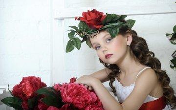 flowers, dress, look, girl, hair, face, child, curls, wreath