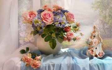 цветы, девушка, розы, статуэтка, ткань, окно, ваза, вуаль, фигурка, валентина колова